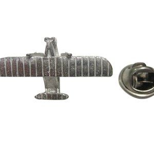 Silver Toned Textured Wright Flyer Plane Lapel Pin